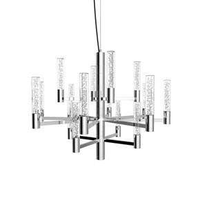 Seraph Polished Chrome 22-Inch LED 16-Light Pendant with Bubble Glass
