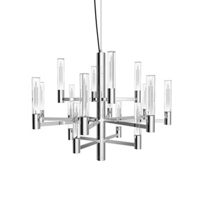 Seraph Polished Chrome 22-Inch LED 16-Light Pendant with Candle Glass