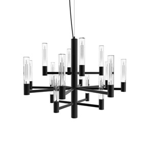 Seraph Matte Black 22-Inch LED 16-Light Pendant with Candle Glass
