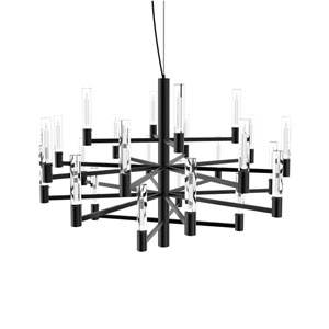 Seraph Matte Black 31-Inch LED 24-Light Pendant with Candle Glass