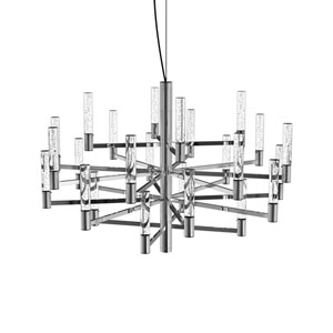 Seraph Polished Chrome 31-Inch LED 24-Light Pendant with Bubble Glass