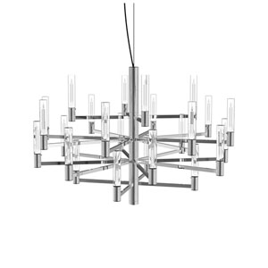Seraph Polished Chrome 31-Inch LED 24-Light Pendant with Candle Glass