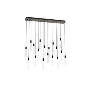 Seraph Matte Black One-Inch LED 18-Light Pendant with Gradient Glass