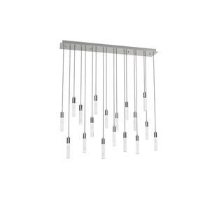 Seraph Polished Chrome 38-Inch LED 18-Light Pendant with Bubble Glass