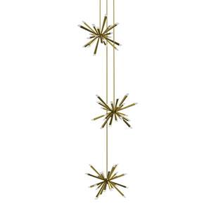 Starburst Brushed Brass LED 72-Light Pendant