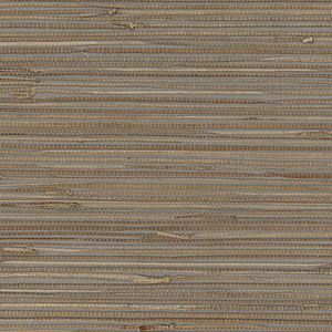 Regular Buddle Brown and Grey Grasscloth Wallpaper
