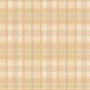 Medium Beige, Cream and Green Plaid Wallpaper