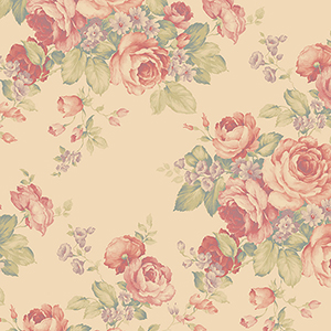 Grand Floral Beige, Red and Purple Wallpaper