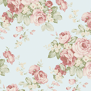 Grand Floral Turquoise, Red and Green Wallpaper
