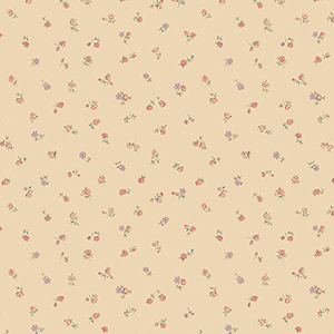 Shabby Rose Buds Beige, Red and Purple Wallpaper