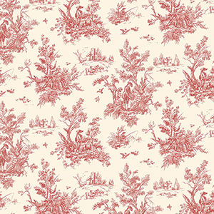 Red and Ochre Toile Wallpaper