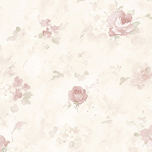 Morning Dew Soft Pink, Green and Cream Floral Wallpaper