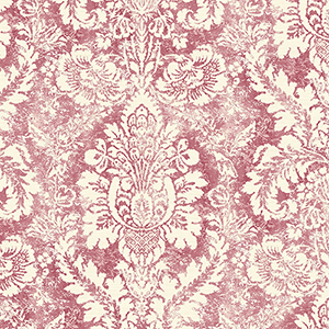 Valentine Damask Cream and Red Wallpaper
