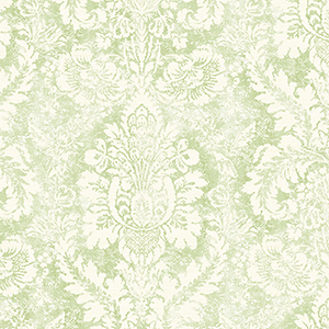 Valentine Damask Cream and Green Wallpaper