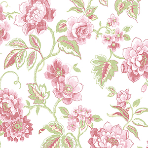 Chloe Red and Pink Floral Wallpaper