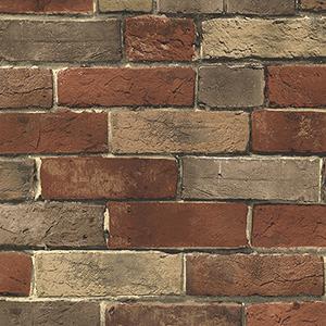 Photo Brick Orange, Tan and Brown Wallpaper