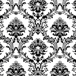 Document Damask Black and White Wallpaper