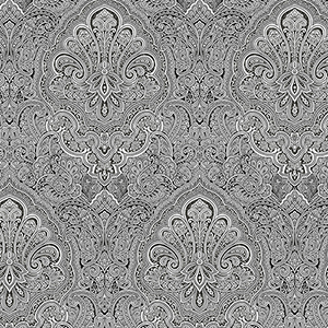 Ruby Paisley Black and White Wallpaper