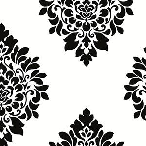 Medallion Damask Black and White Wallpaper