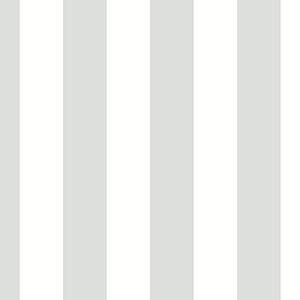 Tent Stripe Metallic Silver and White Wallpaper