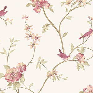 Floral Bird Sidewall Raspberry and Cream Wallpaper