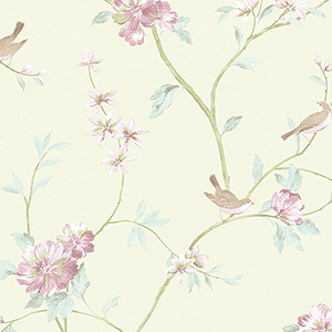Floral Bird Sidewall Green and Pink Wallpaper