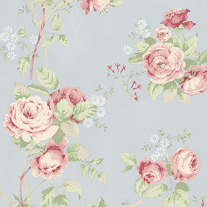 Linen Rose Blue, Green and Pink Wallpaper