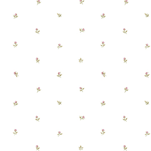 Rose Buds Pink and Ochre Wallpaper