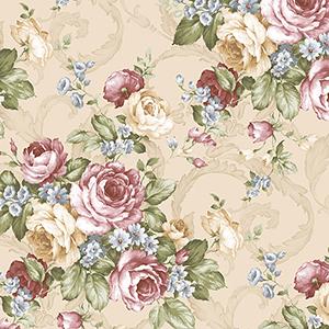 Grand Floral Beige, Burgundy and Blue Wallpaper