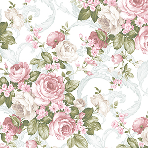 Grand Floral Pink, Green and Light Turquoise Wallpaper