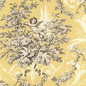 Fabric Toile Yellow and Cream Wallpaper