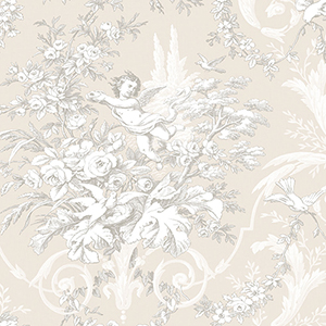 Fabric Toile Stone and Light Grey Wallpaper