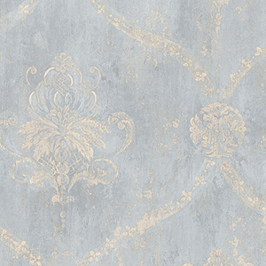 Regal Damask Blue and Beige Wallpaper