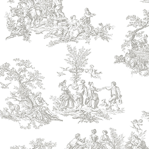 Romantic Toile Light Grey and White Wallpaper