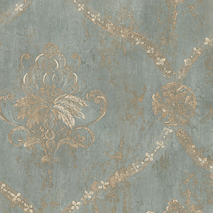 Regal Damask Metallic Gold and Turquoise Wallpaper