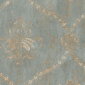 Regal Damask Metallic Gold and Turquoise Wallpaper