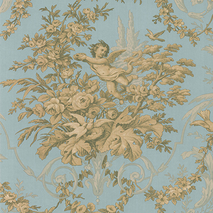 Fabric Toile Metallic Gold and Aqua Wallpaper