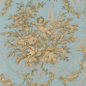 Fabric Toile Metallic Gold and Aqua Wallpaper