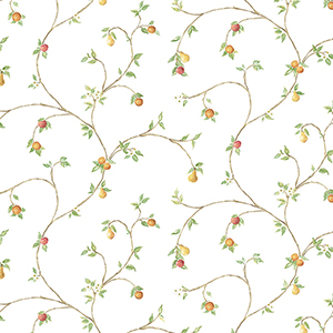 Fruit Trail Yellow, Red and Beige Wallpaper