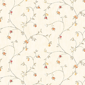 Fruit Trail Red, Cream and Taupe Wallpaper