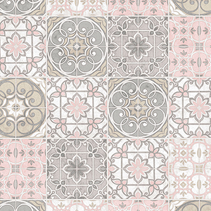 Pink and Grey Portuguese Tiles Wallpaper