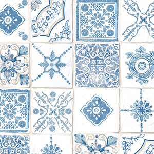 Blue and Beige Moroccan Tiles Wallpaper