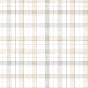 Grey and Beige Linen Plaid Wallpaper