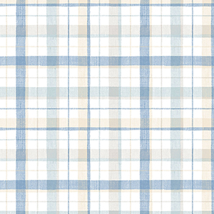 Blue and Beige Linen Plaid Wallpaper
