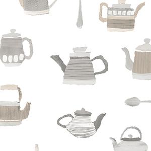 Tea Pots Beige and Grey Wallpaper