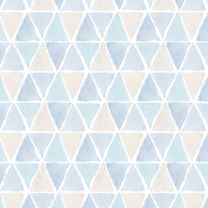 Kitchen Triangle Blue and Beige Wallpaper