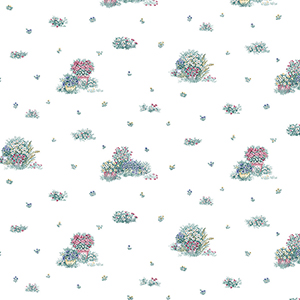 Garden Mini Blue, Green and Red Floral Wallpaper