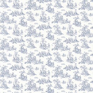 Small Toile Blue Wallpaper