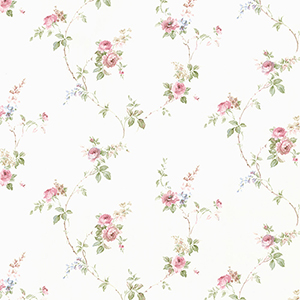 White Wedding Trail Pink and Blue Floral Wallpaper