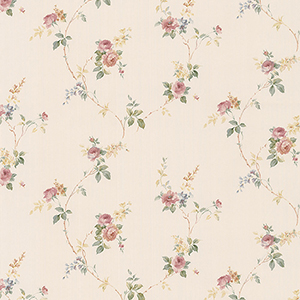 White Wedding Trail Pink and Cream Floral Wallpaper